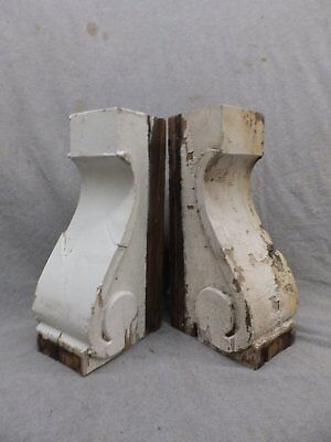 Antique Pair Wood Corbels Bookend Shabby Cottage Chic Gingerbread Vtg 265-17R
