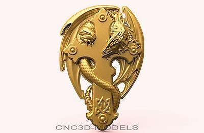 3D Model STL for CNC Router Engraver Carving Artcam Aspire Cross Dragon 1903