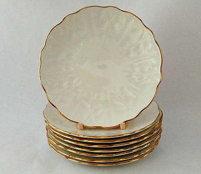 """Aynsley Golden Crocus Set of EIGHT 6 3/8"""" Bread & Butter Plates in Exc Condition"""