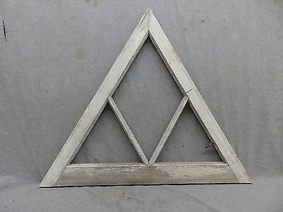 Antique 3 Lite Triangle Window Shabby Vtg Chic Old Cottage Gingerbread 267-17R