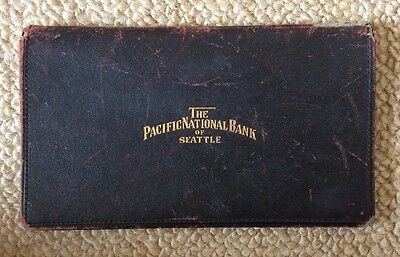 The Pacific National Bank Of Seattle Antique Vintage  Checkbook Cover Leather Go