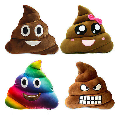 New Rainbow Emoji Poo Plush Soft Toys For Kids Fun Multi Colour Pillow Cushion