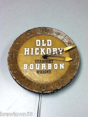 Old Hickory bourbon whiskey wall clock vintage chalkware chalk GA3