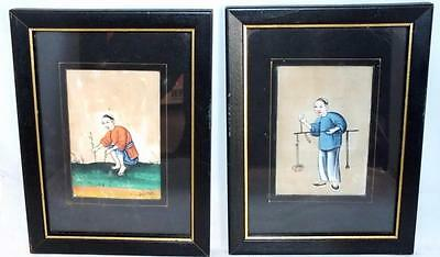 Pair 19Th Century Chinese Pith Rice Paper Watercolors Paintings