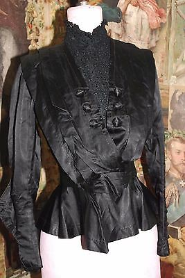 Gorgeous Antique Victorian Small Black Silk/Satin/Lace Jacket Original Label