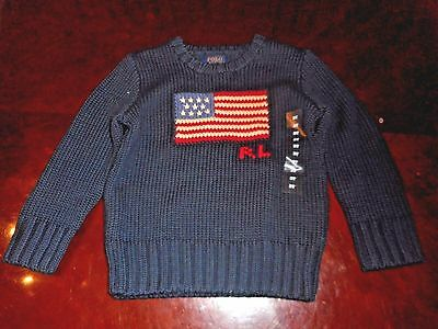Polo Ralph Lauren American Flag 100% Cotton Knit Ribbed  Sweater Nwt 3T