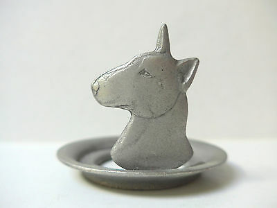 English Bull Terrier Candle Holder Metal Vintage Dogs Rawcliffe Pewter US