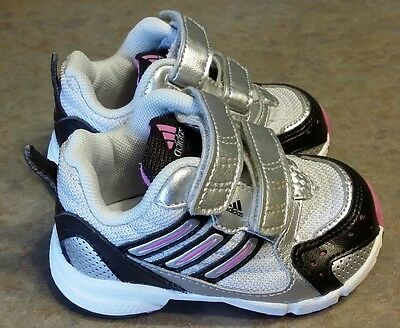 """Infant Girls """"adiFIT"""" Adidas Shoes Sneakers Silver/Pink/Black SIZE 4K WIDE NWOB"""