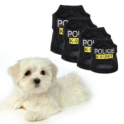 Cool Pet Dog Cat Vest Puppy T-Shirt Coat Clothes Sport Police Costumes Apparel