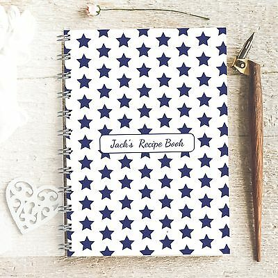 Personalised Recipe notebook Stars Blue. Lovely Present, Foodie Cooks Dads Gift
