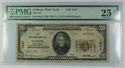 1929 Type 2 $20 National Currency Banknote Cohoes NY Charter# 1347 PMG VF-25 Net