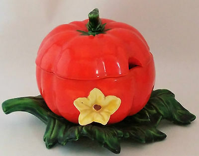 Rare! Maruhan Hand Painted Tomato Ware With Leaf and Flower Sugar Bowl With Lid