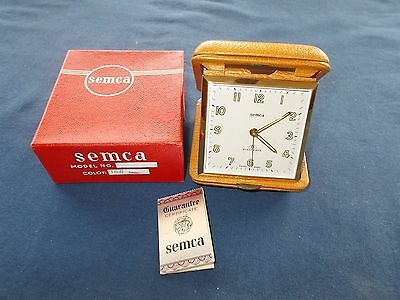 Vintage Semca 8 Day Travel Alarm Clock Germany Leather Case Excellent with Box