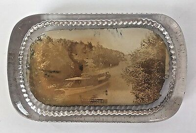 Antique Photograph Glass Paperweight Captain Visger Thousand Islands Steamer