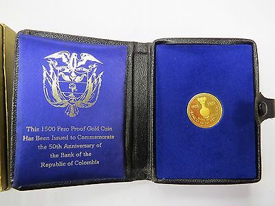 Colombia 1973 Gold 1500 Pesos GEM BU-In case of issue Honor 50 Anniv.Gold Museum