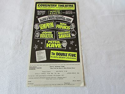 STARS from the BLACK & WHITE Minstrel Show 1971 Original COVENTRY Theatre Flyer