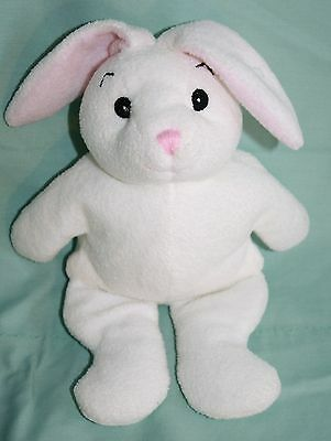 """Jaag Plush EASTER BUNNY RABBIT 9"""" Baby Rattle White Stuffed Soft Toy Pink Nose"""