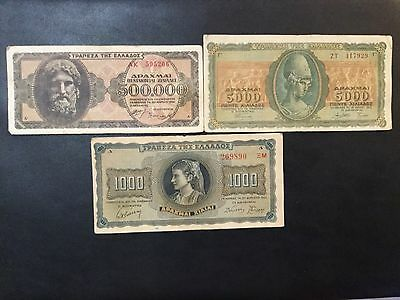 1942-1944 Greece Paper Money - Lot Of 3 Banknotes !