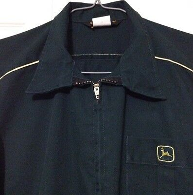 Vtg John Deere Coveralls Large Protexall Six Pocket Zippered Made In USA