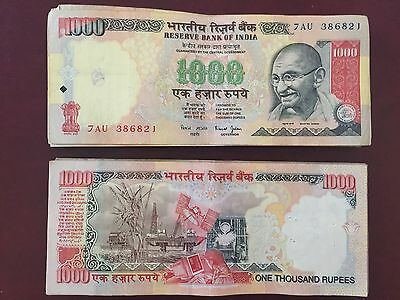 25,000 Indian Rupees 25x1000 Circulated India Canceled Currency. $384 value
