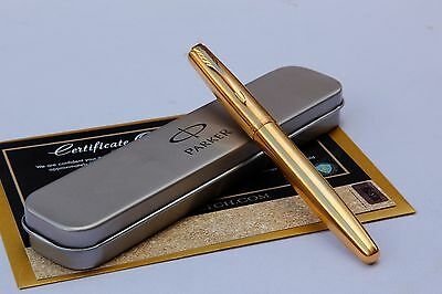 Luxury 24Ct Gold Plated Parker Frontier Fountain Writing Pen In Gift Tin