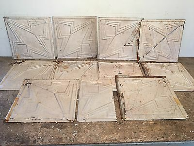 "Lot of 10 pc 12"" x 12"" Antique Ceiling Tin Tile Vintage Reclaimed Salvage Art"