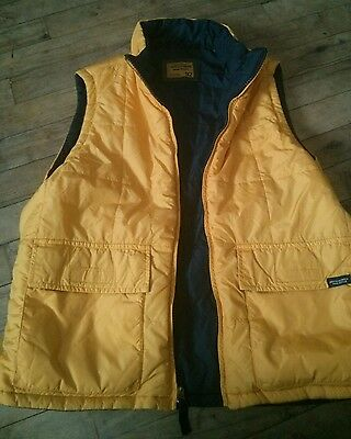 Women's Abercrombie & Fitch Reversible Vest Sz Small Yellow And Navy
