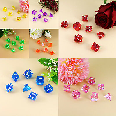 7Pcs/Lot Multi SidedGame  Dice D4-D20 7 Colors Fun Role Playing Games Toys
