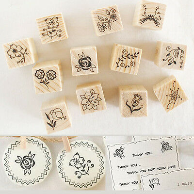 12Pcs Flower Lace Scrapbooking Wooden Rubber Stamp Letters Diary Craft Set