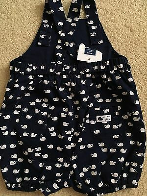 NWT Janie and Jack Navy Whale Romper 6-12 Mon, White Shorts OVeralls
