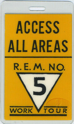R.e.m. 1987 Work Tour Laminated Backstage Pass