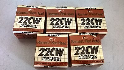 5 Boxes (500) Ramset 22CW Brown .22 Loads New