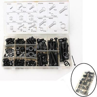 240 Piece hex head Nut and Bolt Kit Washer Lock Assortment Set M4 M5 M6 M8 M10
