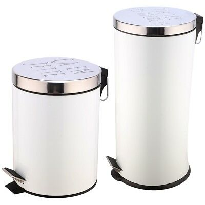Promobo - Set Duo Lot 2 Poubelles A Pédales Métal Design Blanc Inscription Humou