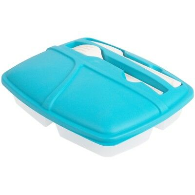 Promobo - Lunch Box City Panier Repas 3 Compartiments + 2 Couverts Bleu