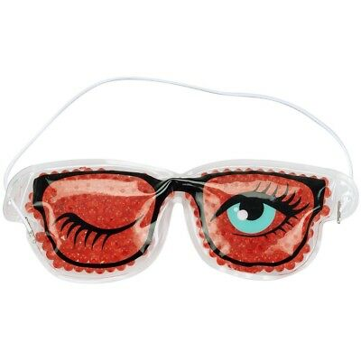 Promobo - Pochette Masque Relaxant Forme Lunette Avec Microbille Chaud Froid Rou
