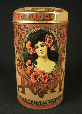 VTG Poppy Highly Perfumed Talcum Powder Collectible Tin Can - MADE IN ENGLAND *