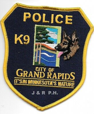 """*NEW*  Grand Rapids  K-9, MN  (4"""" x 4.5"""" size) shoulder police patch (fire)"""