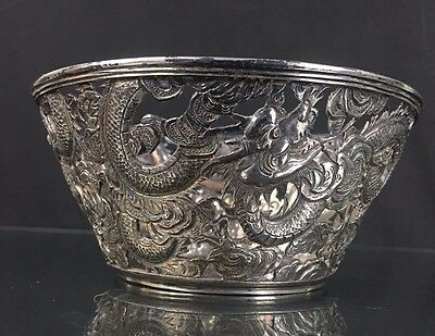 Unique 19th Century Chinese Export Sterling Silver Bowl Hammer Repousse Dragons