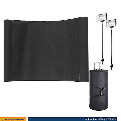 8' Pop Up Exhibit Trade Show Display Booth Fabric Curved Banner Spotlights