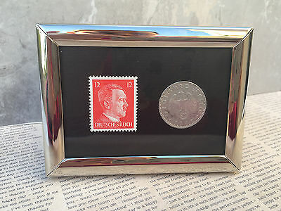 WW2 Rare German Reich 50 Rp Coin Sw. Stamp in a Secure Metal Disp Frame
