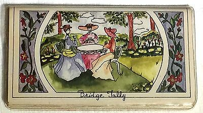 Vintage Bridge Tally Case and Score Sheets Watercolor of Women Playing Cards