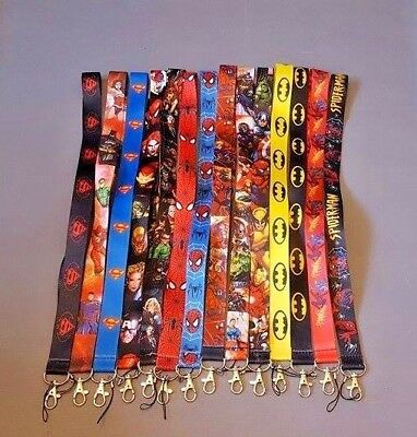 Marvel DC Comics Batman Spiderman Lanyard Neck Straps ID Pass Key Phone Whistle
