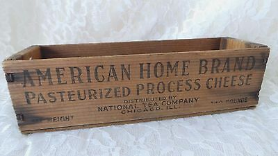 Vintage Advertising AMERICAN HOME Brand Cheese Shipping Box Vintage Wood Box