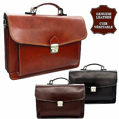 Cartable CUIR Véritable Italien Serviette Porte documents sac Homme