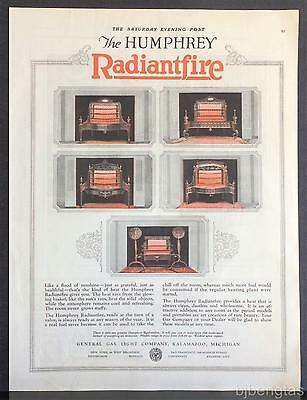 1925 Humphrey Radiantfire Gas Heater 5 Styles of Rare Beauty Vintage Print Ad