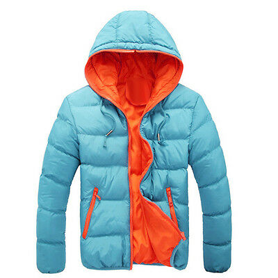 2017  Men Casual Warm Jacket Hooded Thick Coat Parka Overcoat Hoodie Blue XL