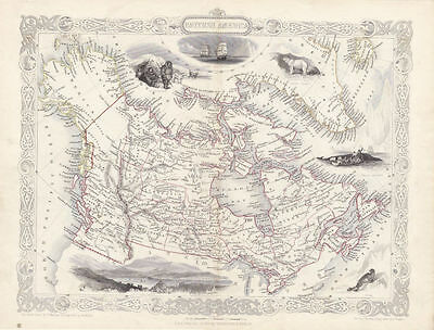 Illustrated Antique Map of British America by J. Rapkin. Hand Colored. Circa....
