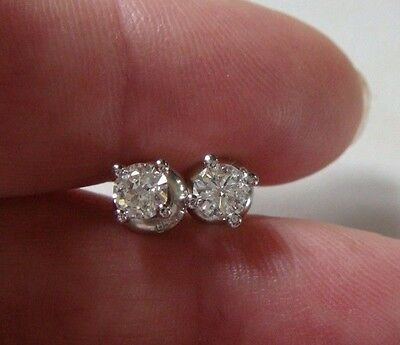 A Pair Of 0.65 Ct Carat Diamond Solitaire Earring Studs In 18Ct White Gold