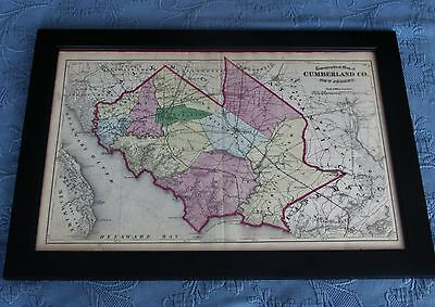 Framed Antique 1872 Beers,Comstock, & Cline Map of Cumberland County, New Jersey